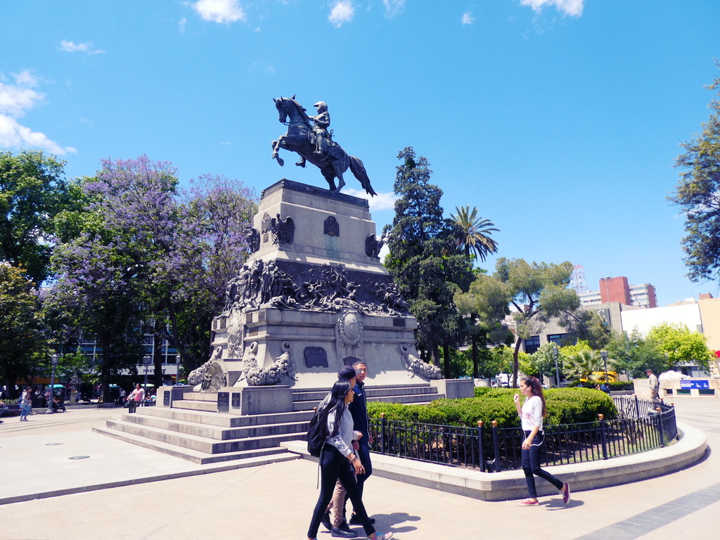Statue of San Martin on the main square of Cordoba Argentina